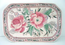 Porcelain DRESSER TRAY 1970-80's Roses & Lillies Pink Green White CHINA