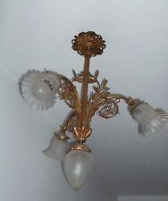 !!  Ancien superbe lustre 19ème siècle à tulipe et bronze !