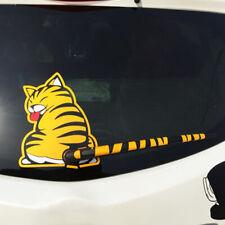 Cat Paw Tail Windshield Rear Window Wiper Cartoon Car Sticker Accessories Yellow