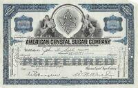 American Crystal Sugar Company Preferred Stock Certificate 1930's