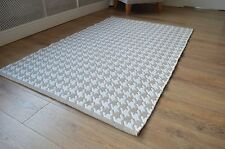 Floor Rug 100 Cotton Houndstooth Weave Pebble Beige / White 120x180cm 4x6'