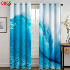 Window Curtain Blue Seawater Printing 3D Curtains Living Room Bedroom Drapes