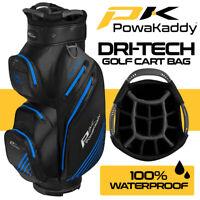PowaKaddy Dri-Tech 14-WAY Waterproof Golf Cart Bag Black/Gun/Blue - NEW! 2020