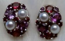 Ross Simons Genuine Pearl and Multi Gemstone Sterling Silver Omega Back Earrings