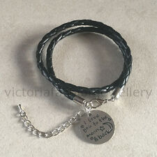 "Leather Bracelet ""I love you to the moon & back"" Black Rope Wrap Wristband Stars"