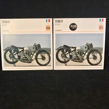 1936 Terrot 350 HCP Motorcycle Photo Spec Sheet Info Cards Lot Of 2 Cards