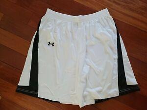 Under Armour Adult XL Cooker Lacrosse Shorts White/Black Stripe