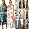 Womens Maxi Boho Floral Summer Beach Gypsy Slit Evening Cocktail Party Sun Dress