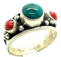Navajo Turquoise Coral Sterling Silver 925 Ring 6g Sz.8 NEW693