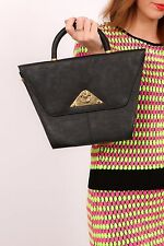 80s vintage black faux leather quirky shaped handbag by Saxone  'Keswick'