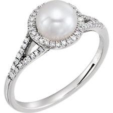 f9b9f8a34741 Perla Cultivada Agua Dulce   1 5 Ctw Diamante Anillo en 14k Oro Blanco
