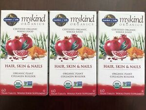Lot Of 3 Garden Of Life MyKind Organics Hair Skin & Nails Supplement 07/2022 New