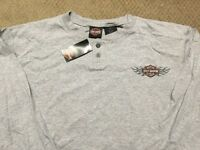 Harley Davidson Bar and Shield Gray long sleeve Henley Shirt Nwt Men's medium