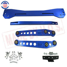BLUE Rear Lower Control Arm+ Subframe Brace+ Tie Bar For 96-00 Honda Civic EK