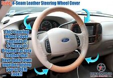 2003-2007 Ford F250 F350 King Ranch -Leather Steering Wheel Cover - 4-Seam Style