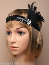 1920,s BLACK CHARLESTON HEADBAND : SEQUIN STRETCH BROW BANDS WITH FEATHER : 0509