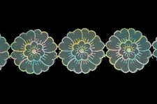 """2"""" Vintage Pastel Daisy Flor organza bordado de encaje de corte X 9.1 metros"""