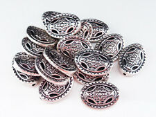 20 x tibétain style ovale spacer beads argent antique 13mm lf nf, métal perles