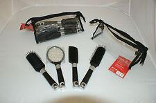 4 tlg. Haarbürstenset  schwarz im praktischem Aufbewahrungsbeutel