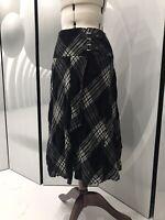 Steilmann Black & Grey Checked Scottish Style Wool Cotton Blend Skirt  UK 18