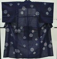 =Japanese Vintage Kimono / yukata / Women 57.4inc./ Blue 3nfuji29006