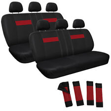 Red and Black Full Complete Car Seat Cover Set Two 2 Back Bench Rows