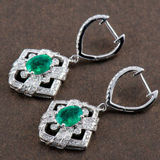 Estate Natural Green Real Colombian Emerald Diamond Earring Solid 14K White Gold