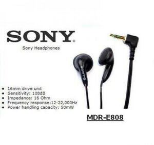 Sony MDR-E808 Earbuds Headphones Stereo Earphones 3.5mm For MP3 Soft leather bag