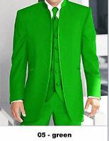 Custom Made Men Wedding Suit Green Mandarin Collar Men Jacket & Pants +Waistcoat