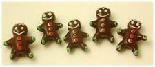 10 Handmade Christmas Lampwork Glass Beads Gingerbread Man