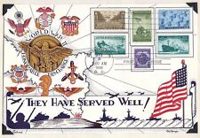 1946 HEROES of WWll THEY HAVE SERVED WELL FDC Stamp USA Flag War Ship Tank Plane