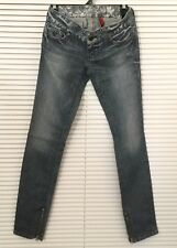 GUESS Womens Jeans Daredevil Skinny Legs Dark Wash Blue Embellished Size 24