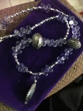 "Sterling 48"" .925 Multi-gemstone Necklace Amethyst Turquoise Quartz Peridot"