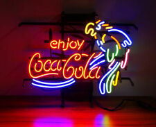 "Enjoy Coca Cola Coke Parrot Neon Light Sign 20""x16"" Beer Gift Bar Real Glass"