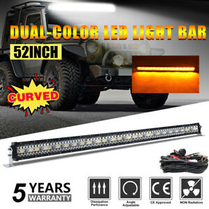 """50inch Offroad Led Work Light Bar Curved Combo Beam Strobe Dual Color Flash 52"""""""