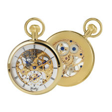 Pocket Watch Open Face Gold Plated Skeleton 17 Jewel Swiss Woodford 1044 NEW