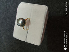 huge AAA+ 11-10mm natural South sea black round pearl Ring 18k Gold adjustable