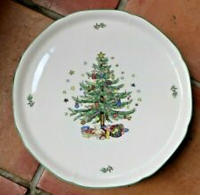 """NIKKO HAPPY HOLIDAYS  PEDESTAL CAKE PLATE 10 3/4"""" CHRISTMAS COLLECTION...."""