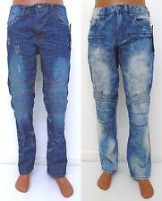 Men AKADEMIKS Blue Electric Ice moto biker classic straight leg fashion jeans