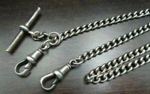 Antique 1924 Herbert Bushell & Son Sterling Silver Pocket Watch Chain - No Scrap