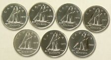 1974 to 1980 Canada 10 Cents Lot of 7 Unc #1062