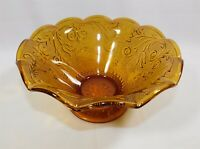 Indiana Glass Amber Daisy Tiara Sandwich Glass Pinched Edge Bowl 10""