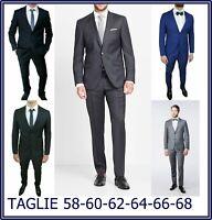 abito vestito da uomo taglie forti 58 60 62 64 66 blu nero elegante cerimonia
