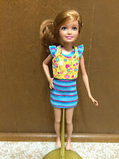 Barbie Sister Stacie Strawberry Blonde Pony Tail Hair Dressed Blue Yellow Doll