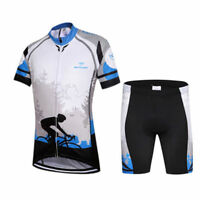 Kids Bike Clothing Kit Short Sleeve Cycling Jersey & Padded Shorts Coolmax Set