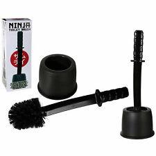 Ninja Toilet Cleaning Brush Bathroom Cleaner Holder Black Plastic Samurai Sword