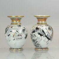 Antique Pair of 19C Japanese Kutani Crane Vases Japanese Satsuma Style but Po...