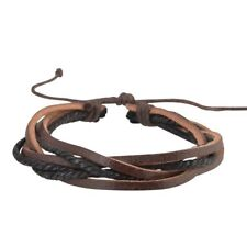 Brown Handmade Genuine Leather Bracelet for Men Punk Surfer Braided Bracelet