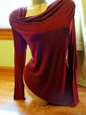 Forever 21 wine/berry long sleeve fitted draped assymetrical top - Size M