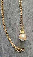 GIVENCHY Vintage Faux Pearl PENDANT Gold tone CHAIN NECKLACE Couture